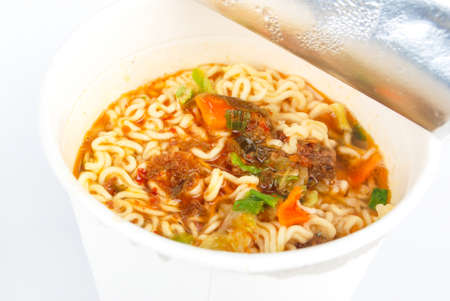 Instant noodles on white background Stock Photo - 13581973