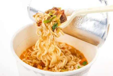 noodle bowl: Instant noodles on white background