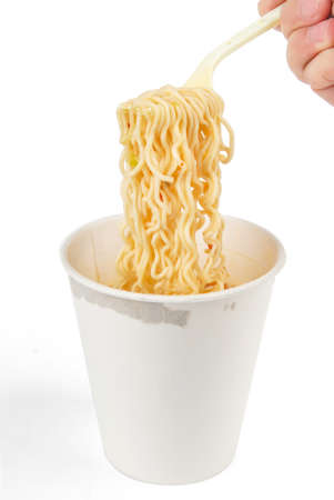 cooked instant noodle: Instant noodles on white background