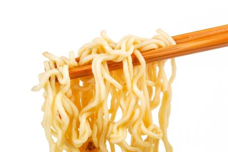 eating noodles: Instant noodles on white background