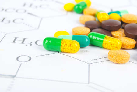 Pills on chemical formula Stock Photo - 13581425