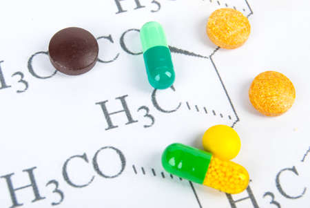 Pills on chemical formula Stock Photo - 13581846
