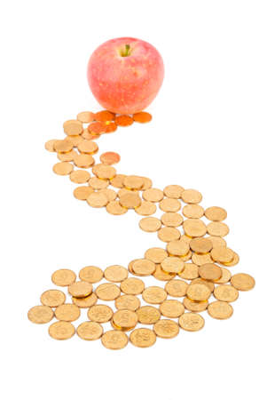 Apple with coins Stock Photo - 13581558