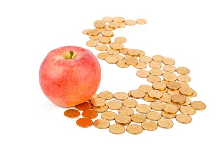 Apple with coins photo