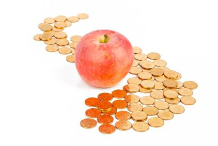 Apple with coins Stock Photo - 13581785