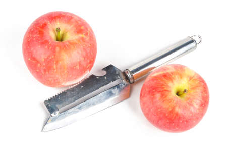 taking the plunge: Apple and stainless steel knife