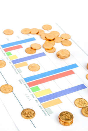 Coins on financial graph photo