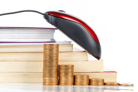 Mouse and coins with books on white background Stock Photo - 13582036