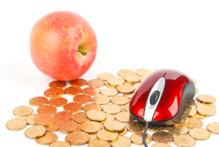 Apple and mouse with coins on white background Stock Photo - 13609935