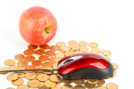 Apple and mouse with coins on white background Stock Photo - 13610120