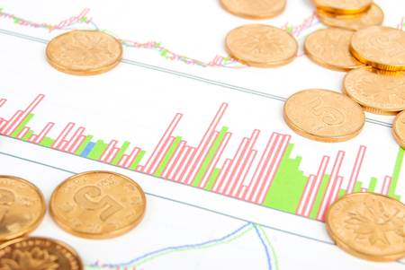 Coin on stock chart photo
