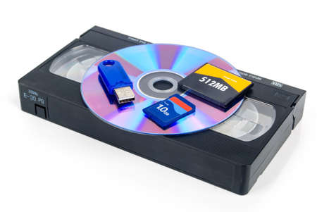 vhs videotape: Flash cards and DVD with videotape