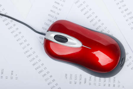 Computer mouse with financial data photo