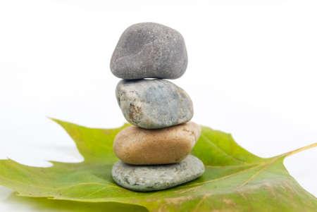 Stone with leaf photo