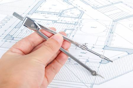 Bow compass and blueprint Stock Photo - 13691347