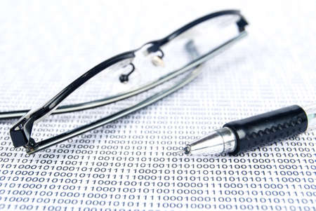 Eyeglasses on binary system page photo