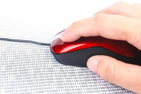 Red mouse on binary code page photo
