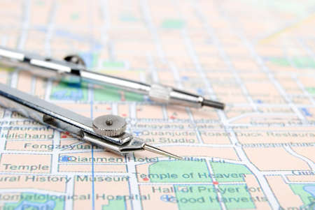 Navigation tool with map Stock Photo - 13745482