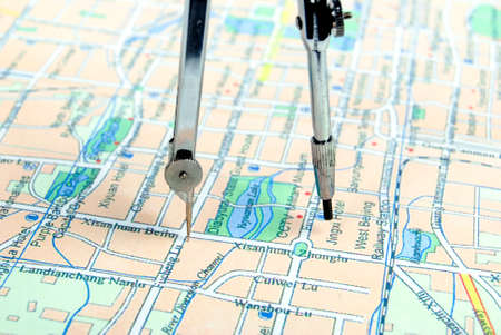 Navigation tool with map Stock Photo - 13742499