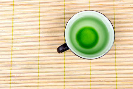 A cup of tea on bamboo tray photo