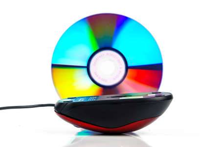 Red mouse with DVD Stock Photo - 13752447
