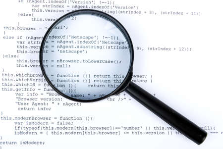 Magnifying glass with html Stock Photo - 13752076