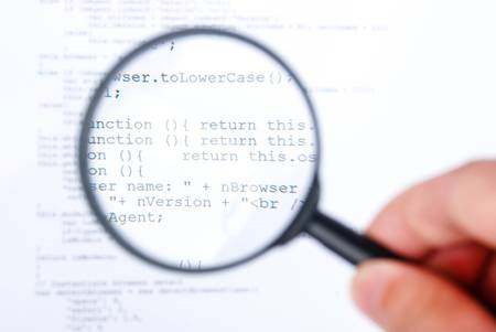 Magnifying glass with html Stock Photo - 13751833