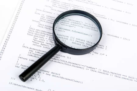 Magnifying glass with html Stock Photo - 13752067