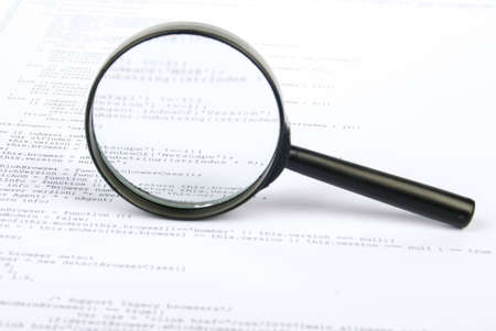 Magnifying glass with html Stock Photo - 13751839