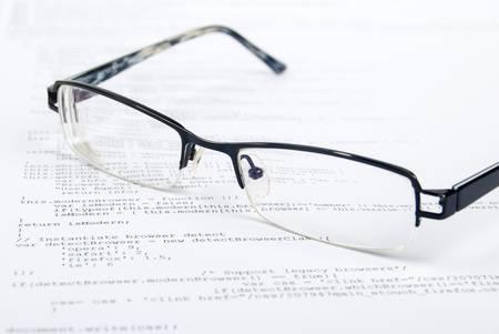 Eyeglasses on html page Stock Photo - 13751840