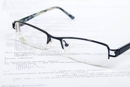 Eyeglasses on html page Stock Photo - 13751840