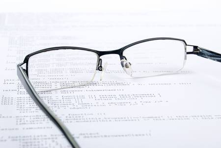 Eyeglasses on html page Stock Photo - 13751841
