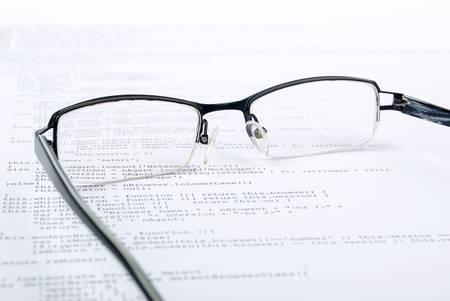 Eyeglasses on html page photo
