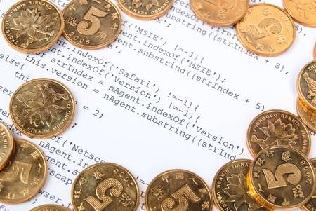 Coins on html page photo