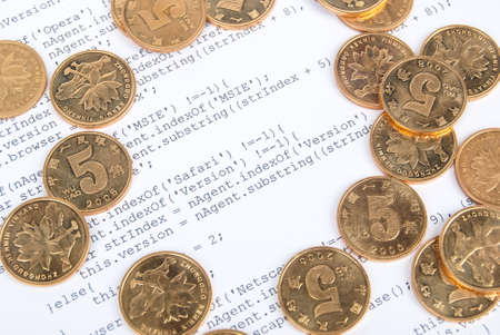 Coins on html page Stock Photo - 13751918