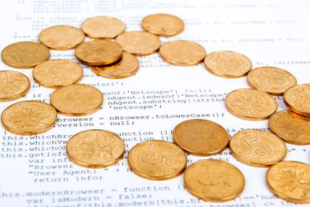 Coins on html page Stock Photo - 13751867