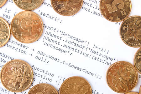 Coins on html page Stock Photo - 13751919