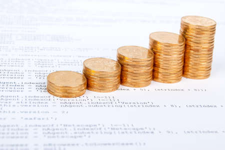 Coins on html page Stock Photo - 13751806