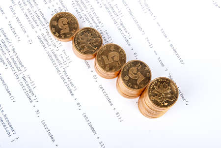 Coins on html page Stock Photo - 13751859