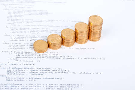 Coins on html page Stock Photo - 13751802