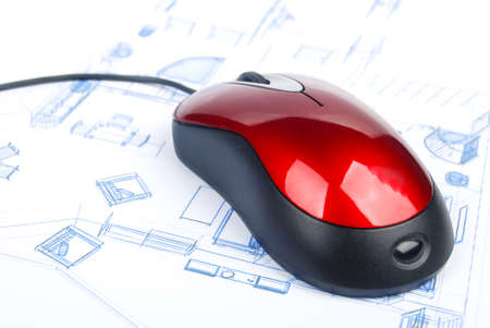 Computer mouse on blueprint Stock Photo - 13751683