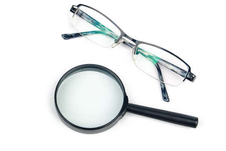 Magnifier with eyeglasses photo