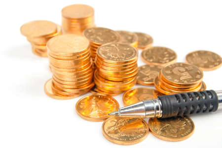 Coin and pen Stock Photo - 13782500