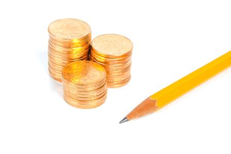 Pencil and coin Stock Photo - 13778787