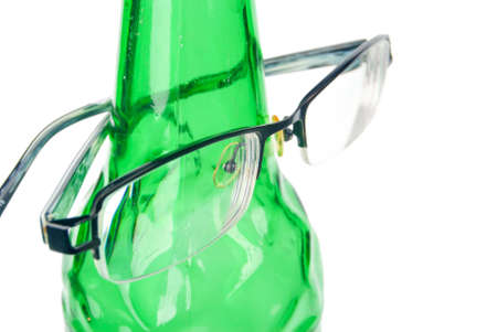 Beer bottle and glasses photo