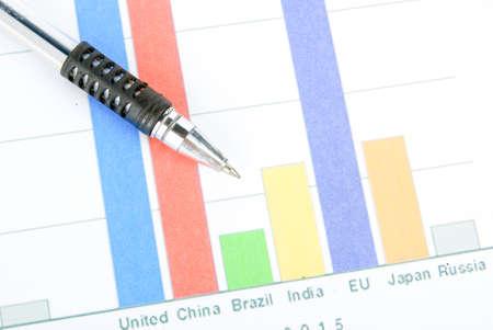 Pen on histogram Stock Photo - 13812545