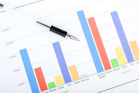 histogram: Pen on histogram Stock Photo
