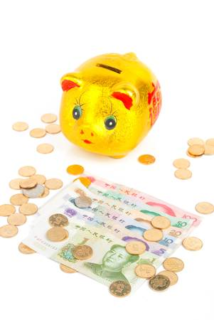 Chinese currency with piggy bank photo