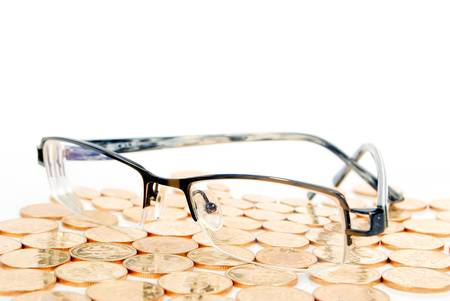 Eyeglasses with coin photo