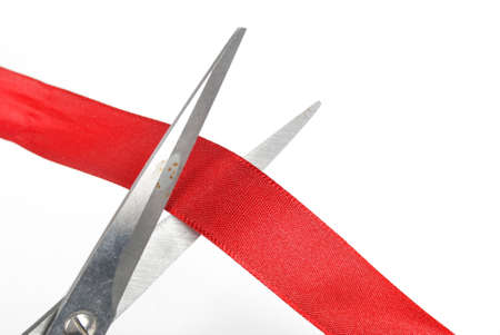 Ribbon cutting Stock Photo